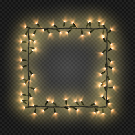 quadratic: Christmas golden bulbs, garland forming a square, vector. Festive blank quadratic frame with yellow electric garland