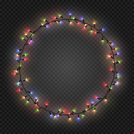 colorful frame: Christmas and New year realistic colorful light garlands like frame on a transparent background, vector. Illustration
