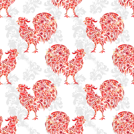 Seamless texture with rooster- symbol of 2017. Fire cock. Suitable for design: cloth, web, wallpaper, wrapping. Vector illustration for New Years design. Stylized floral doodle pattern