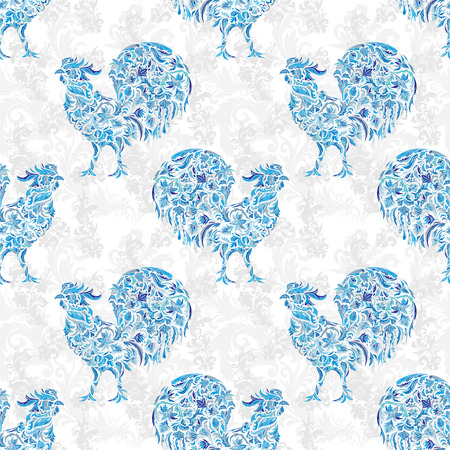 Seamless texture with rooster- symbol of 2017. Blue cock. Suitable for design: cloth, web, wallpaper, wrapping. Vector illustration for New Years design. Stylized floral doodle pattern