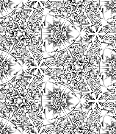 abstract black and white ethnic seamless pattern. Pagan ornament. Vector