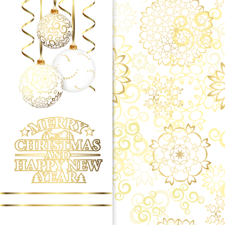 gold christmas decorations: Background with stars and Christmas ball, illustration Illustration
