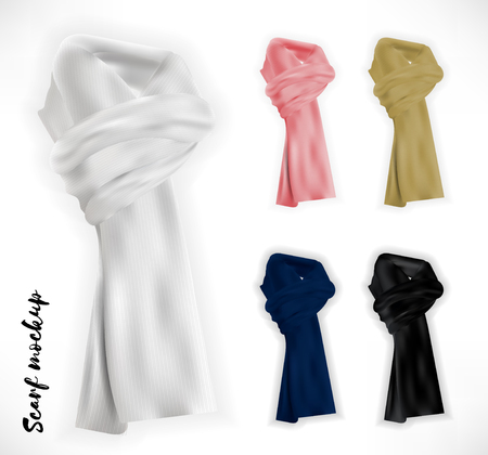 kerchief: Knitted scarf set. Vector mockup realistic photo quality