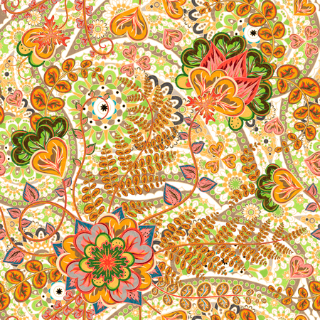 Vector floral pattern with colorful fantasy plants, flowers and leaves. Paisley orange backdrop.