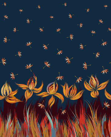 bedding: Vertical Floral seamless pattern of irises and dandelion seeds. Irises painted imitation of oil paint. Blue orange vinous flowers on a darl blue background. Cute print for bedding, clothes, dress etc