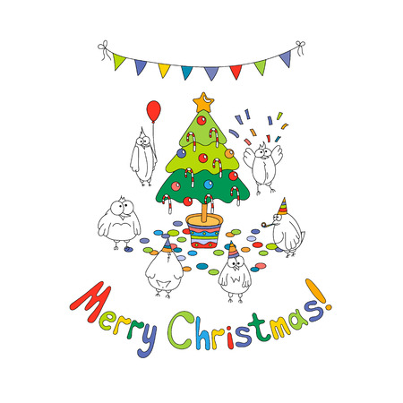 Merry Christmas greeting card with white cartoon funny birds around the Christmas tree. Hand draw vector illustration. Bright colors.