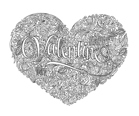 colorless: Vector heart-shaped pattern for coloring book. Design in doodle style with floral elements. Black line art on white background. Valentines day background.