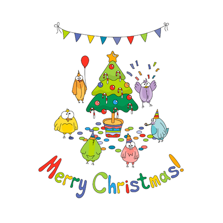 Merry Christmas greeting card with color cartoon funny birds around the Christmas tree. Hand draw vector illustration. Bright colors. Illustration