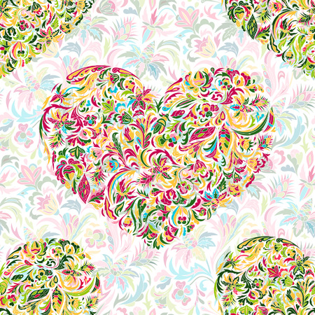 admirable: Colorful ornate floral hearts seamless pattern. Doodle style. Hand painted flowers heart. Vector illustration
