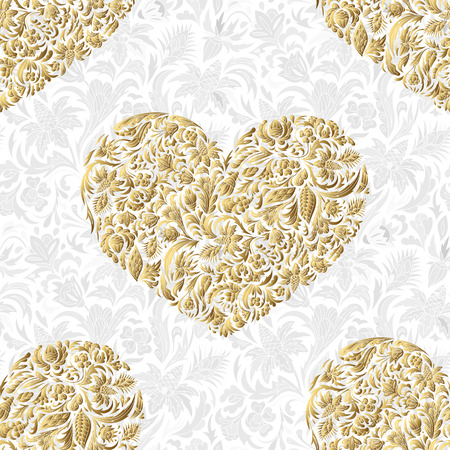 Fine seamless vector pattern with ornate hearts. Golden floral hearts decor on white background. Exquisite wallpaper in Eastern style, vintage backdrop, ornate texture. Filigree romantic pattern fill.