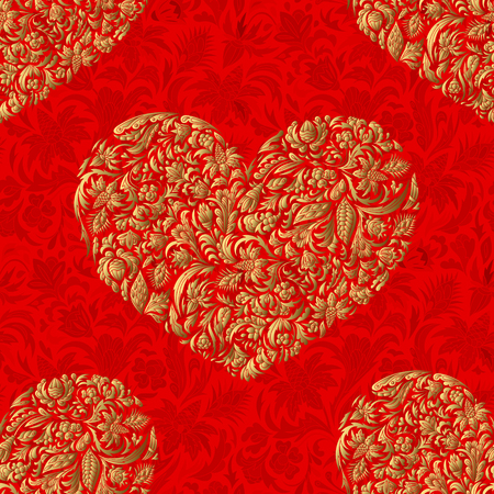 fill in: Fine seamless vector pattern with ornate hearts. Golden floral hearts decor on red background. Exquisite wallpaper in Eastern style, vintage backdrop, ornate texture. Filigree romantic pattern fill.