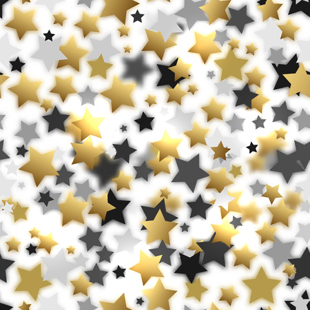 solemnize: Celebratory seamless background of randomly distributed stars of various sizes and colors. Trendy colors, hit this season Mixing elements of clear and blurred. Gold gray stars on white. Vector