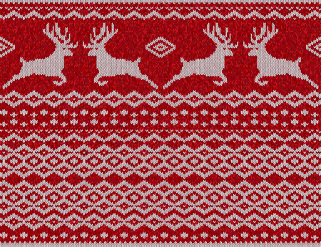 incorporate: Seamless ethnic knitting with Christmas deer. Vector illustration. Illustration