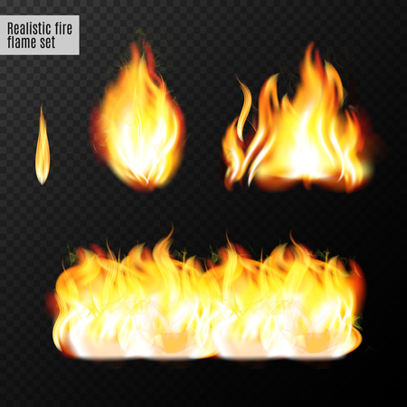 Realistic fire flames set. Real transparency effects. Vector