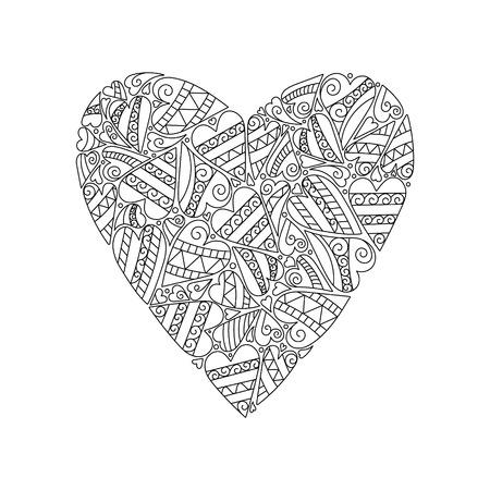 Decoratieve Hart van de liefde. Vector illustratie. Kleurboek voor volwassenen en oudere kinderen. Stock Illustratie