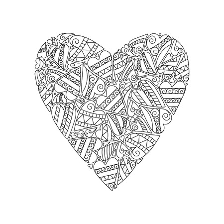 Decorative Love Heart. Vector illustration. Coloring book for adult and older children.