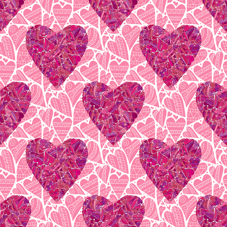 stile: Seamless pink heart pattern. Zendoodle stile hearts background. Vector