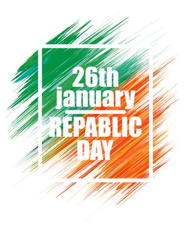 Indian Republic Day celebration background with National Flag colors brush stroke Illustration
