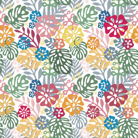 Vector tropical flowers patten. seamless design with gorgeus botanical elements, hibiscus, palm, bird of paradise. Vector editable file Vettoriali