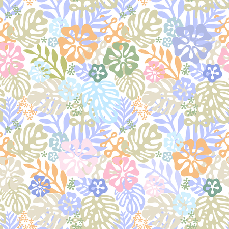 Vector tropical flowers patten. seamless design with gorgeus botanical elements, hibiscus, palm, bird of paradise. Vector editable file Stock Illustratie
