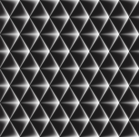 concave: Vector seamless pattern of concave triangles with glowing edges.