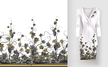 luxe: Vector pattern of vines with leaves and berries on classic womens dress mockup.