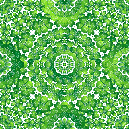 seamless clover: Crazy texture with clover. St. Patricks Day seamless pattern. Vector illustration