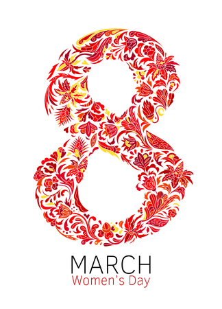 The international womens day on March 8, greeting background with number 8. Hand made vector illustration of beautifully decorated number eight.