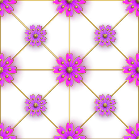 violet flowers: Floral seamless pattern for fabrics, textiles, wallpaper, paper. Vector. Violet flowers on golden greed.