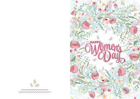 wallpaper International Women s Day: Greeting card with cute little flowers. 8 march - womans day. Ready to print card Hình minh hoạ