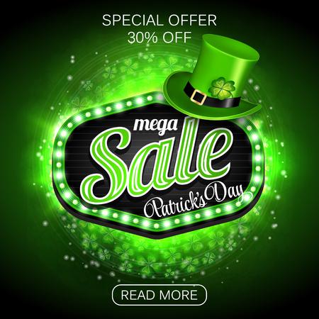Green Poster, Banner or Flyer design of mega Sale on occasion of St. Patricks Day celebration.