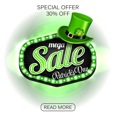Background St. Patricks day mega Sale. Green light frame with leprechaun hat and clover on white background. Vector illustration. Illustration