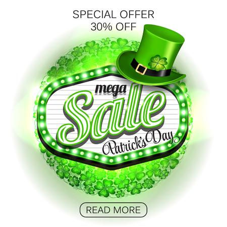 Background St. Patricks day mega Sale. Green light frame with leprechaun hat and clover on white background. Vector illustration. Illustration