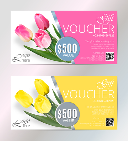 Gift voucher template set with tulips flowers. Cute gift voucher certificate coupon design template. Collection gift certificate business card banner calling card poster. Vector illustration Illustration