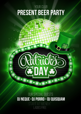 St. Patricks Day party poster with disco ball.