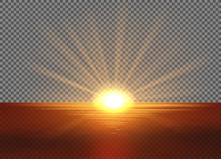 빛의 효과와 벡터 노란 태양입니다. 태양이 바다에 들어가기. 광선, 핫스팟, 후광 및 백그라운드에서처럼 투명도가 플레어. 클리핑 마스크가 들어 있습니다.