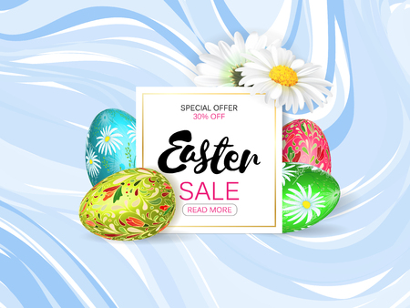 daisy wheel: Easter sale banner. Volume eggs with floral pattern. White plate on blue marble background. Vector illustration.