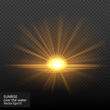 Bright shining sunstar. Isolated on black background. Sunrise over the water. Vector illustration, eps 10. Illustration