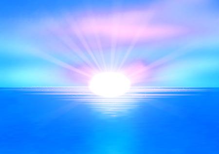 sea horizon: clear sea horizon over blue sky with sun shine