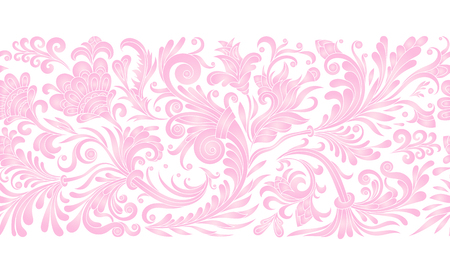 Vintage floral baroque seamless border with blooming magnolias