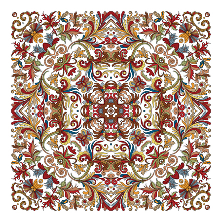 hanky: Colorful ornamental floral paisley shawl, bandanna, pillow, scarf. Square pattern. Detailed floral scarf design. Blue brown red eastern ornament on white background. Batik