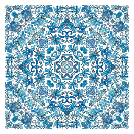 voile: Colorful ornamental floral paisley shawl, bandanna, pillow, scarf. Square pattern. Detailed floral scarf design. Blue brown red eastern ornament on white background. Batik