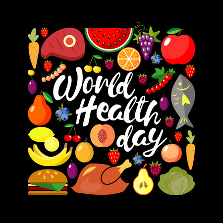 World health day concept. Square banner. Vector illustration. Flat.