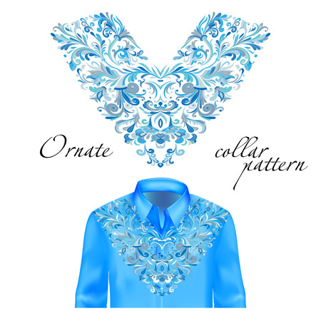 v neck: Shirt, jacket and T-shirt collar pattern. Embroidery ornament. V neck. Vector. Colorful