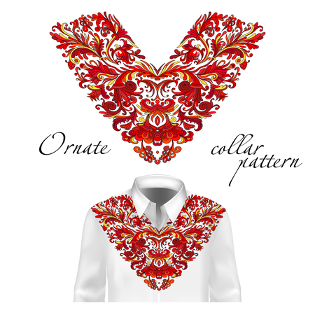 Shirt, jacket and T-shirt collar pattern. Embroidery ornament. V neck. Vector. Colorful