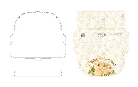 Envelope template with flap design. Easy to fold. Ready to print colorful envelope for money.