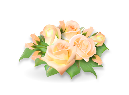 Roses bouquet. Tea-rose delicate yellow pink bouquet. Realistic rose. Not trace. Vector eps 10. Illustration