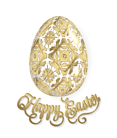 Happy Easter lettering and egg with ornate geometric pattern. Vector illustration EPS10. Golden background