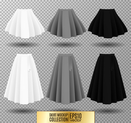 Vector illustration of different model skirt on transparent background. pleated skirt mock up. White, gray and black variation. Illustration