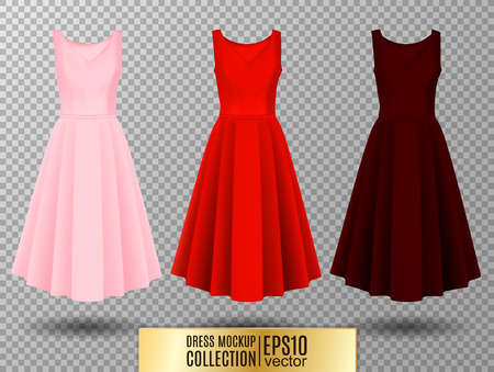 Womens dress mockup collection. Dress with long pleated skirt. Realistic vector illustration. Festive dress without sleeves. Pink red and vinous variation.